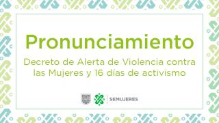 DECRETO DE ALERTA DE VIOLENCIA CONTRA LAS MUJERES Y 16 DÍAS DE ACTIVISMO
